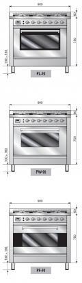 ILVE PL-906-MP Professional Plus Gasherd mit Elektrobackofen